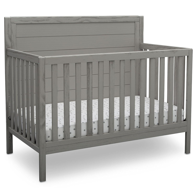 Delta Children Farmhouse 4-in-1 Convertible Baby Crib, Rustic Haze Grey