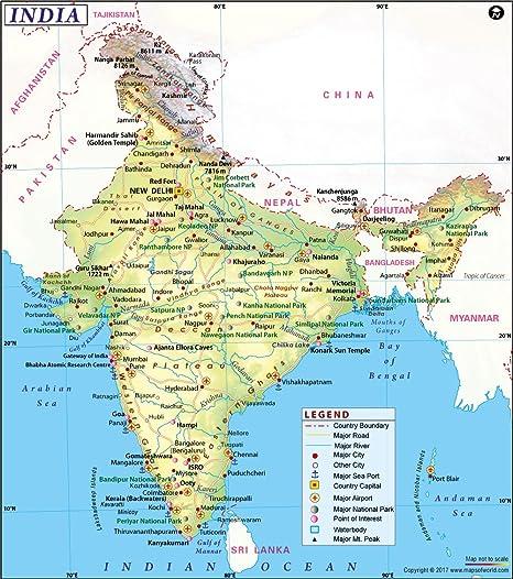 Cartina India Pakistan.Amazon Com India Map 36 W X 40 69 H Office Products