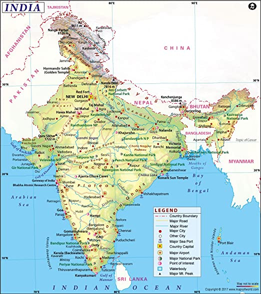 Amazon Com India Map 36 W X 40 69 H Office Products