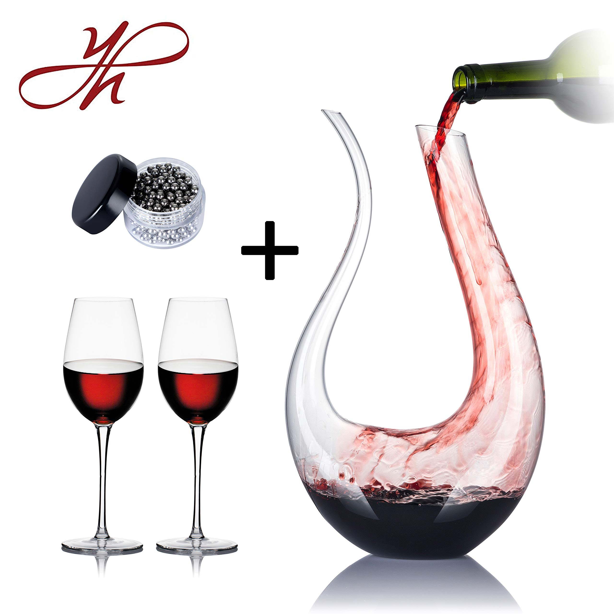 YouYah Swan Wine Decanter Set with 2 Glasses and Cleaning Beads,1750ml Hand Made Crystal,Wine Carafe,Wine Aerator,Wine Gift