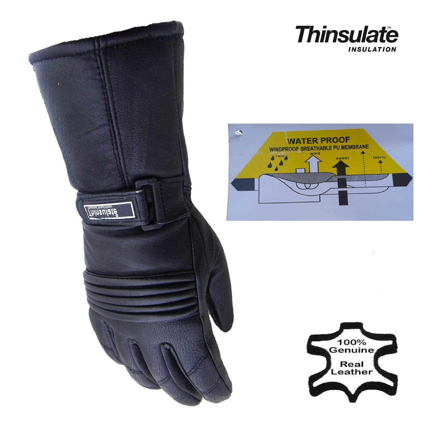 Motorcycle gloves thinsulate - Australian Bikers Gear Ladies Winter Thermal Leather Thinsulate Motorcycle Gloves Amazon Co Uk Clothing