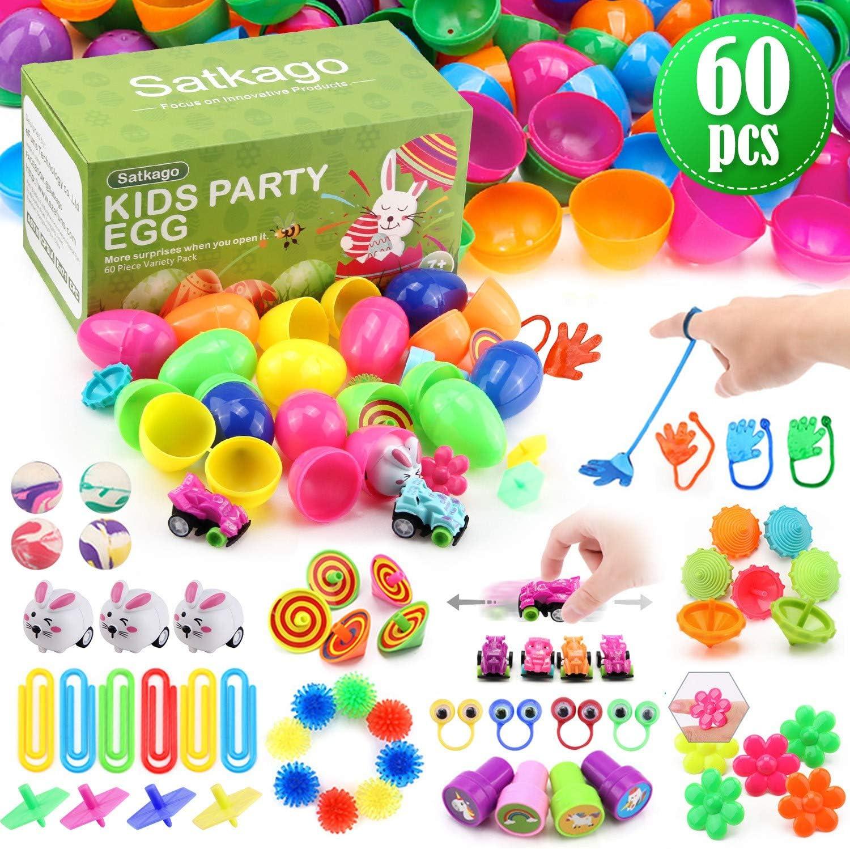 Satkago 60 uds Huevos de Pascua de Juguete, Huevos de Plástico de Colores Brillantes con 12 Tipos de Juguetes Populares para Niños Pequeños como Partidarios de la Fiesta