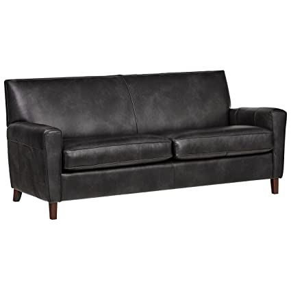 Wondrous Rivet Lawson Modern Angled Leather Sofa 78W Charcoal Caraccident5 Cool Chair Designs And Ideas Caraccident5Info