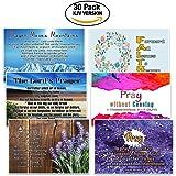 Christian Prayer Postcards Cards (30-Pack) - KJV - The Lord's Prayer - War Room Decor - Inspirational Bible Verses Stocking Stuffers for Men Women Teens Children