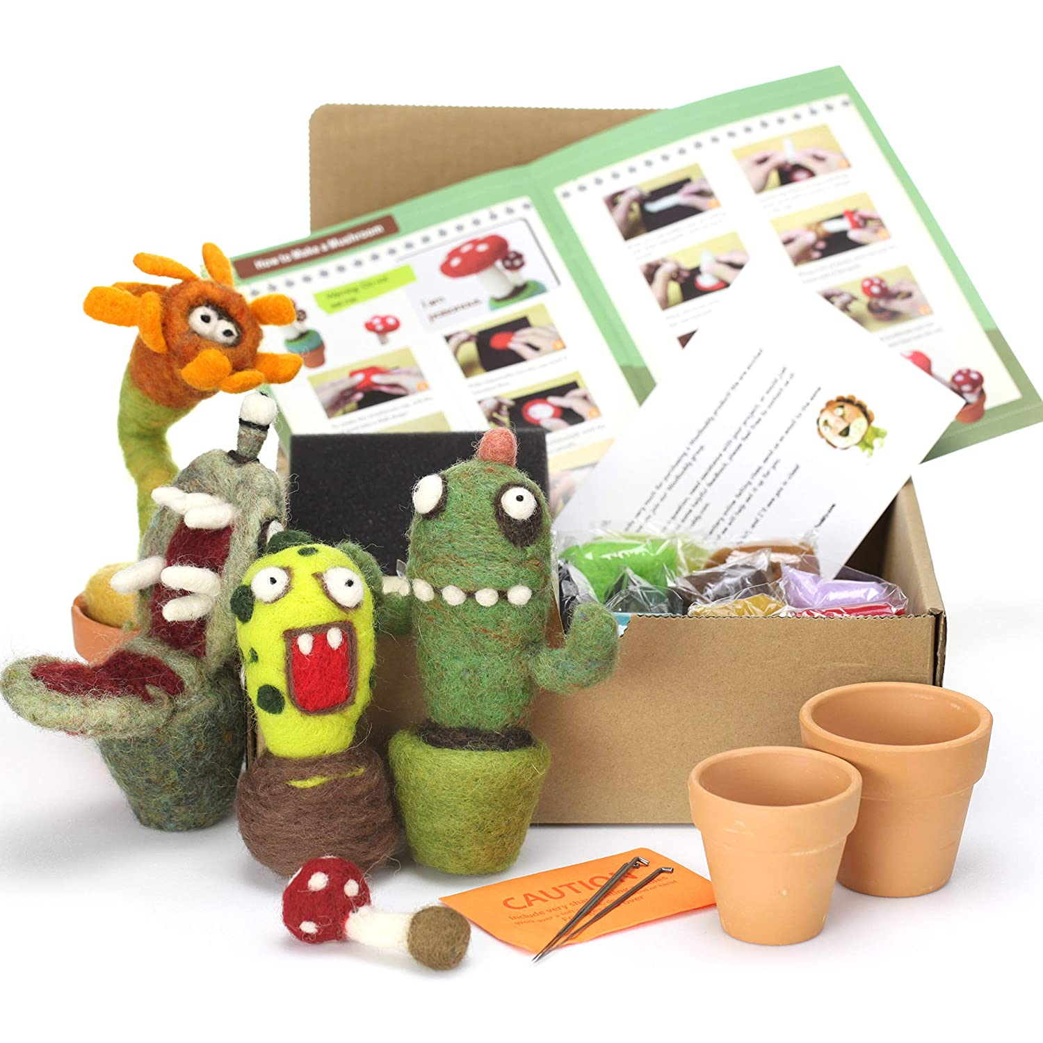 Instruction /& Videos- Great for Arts /& Crafts /& Easy for Beginners Clay pots Included Woolbuddy Needle Felting Cactus Kit 4 Needles Make 4+ Cactus Felting Foam Mat