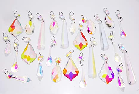 Aurora Borealis AB Chandelier Drops Iridescent Glass Icicles Torpedo Crystals Deco Droplets Beads Christmas Tree Decorations Wedding Prisms