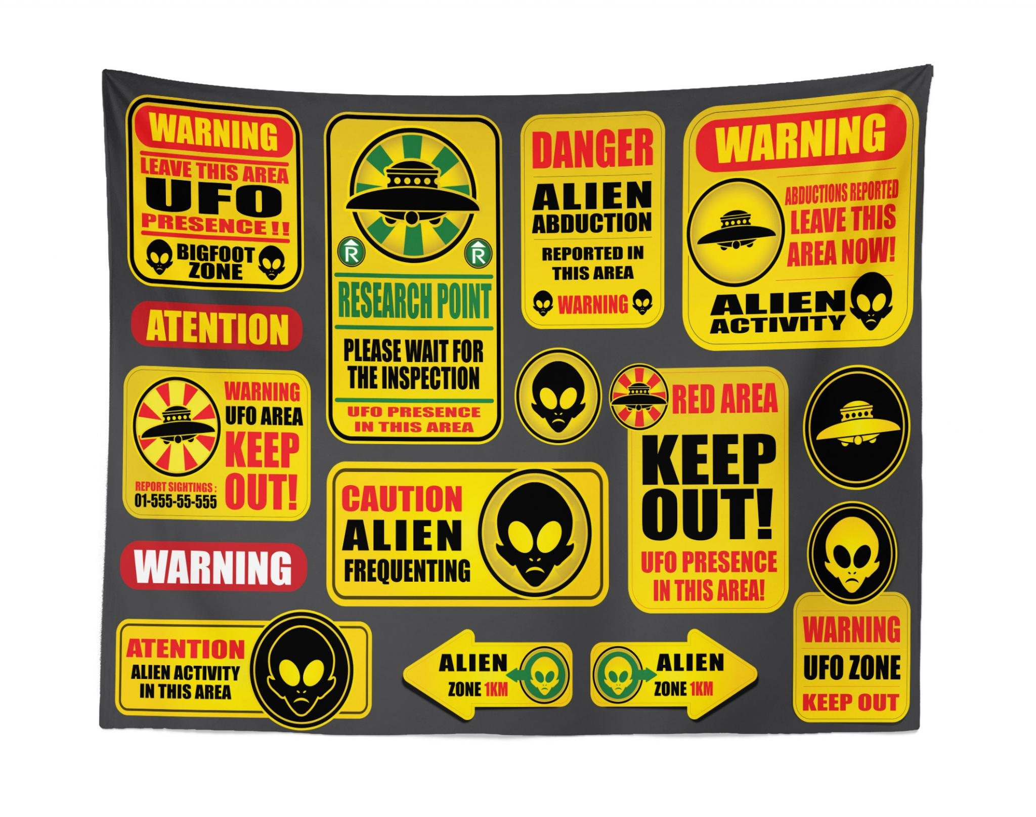 Lunarable Outer Space Tapestry, Warning Ufo Signs with Alien Faces Heads Galactic Theme Paranormal Activity Design, Fabric Wall Hanging Decor for Bedroom Living Room Dorm, 28 W X 23 L Inches, Yellow