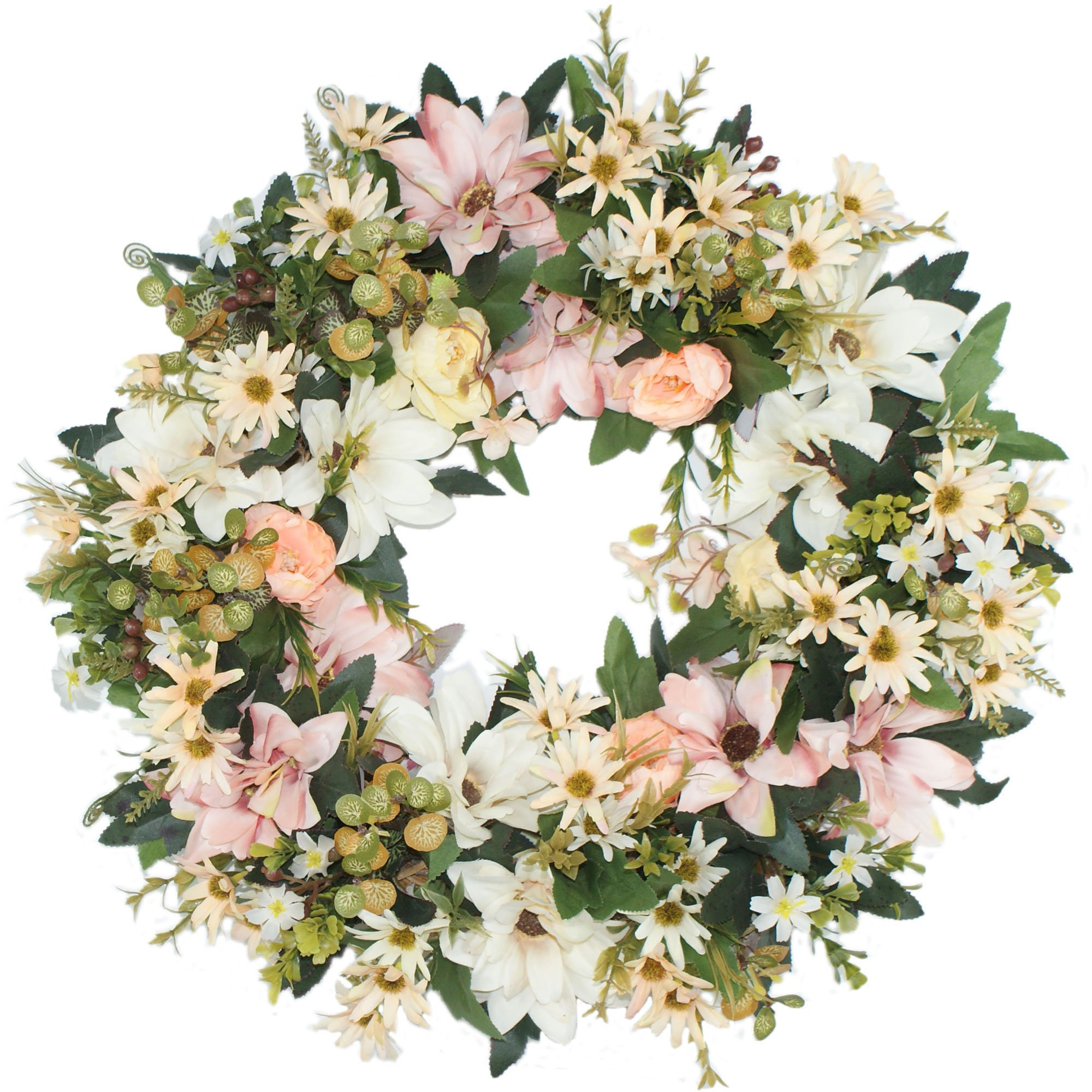 Emlyn Silk Summer Door Wreath 17-Inch Beautiful Silk Front Door Wreath For Spring And Summer Wreath Display, Handcrafted By,Everyday Wreath