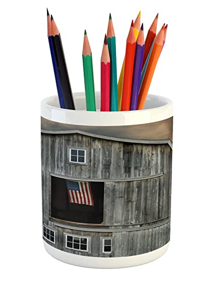 b54391f6bace Amazon.com: Lunarable American Flag Pencil Pen Holder, American Flag ...