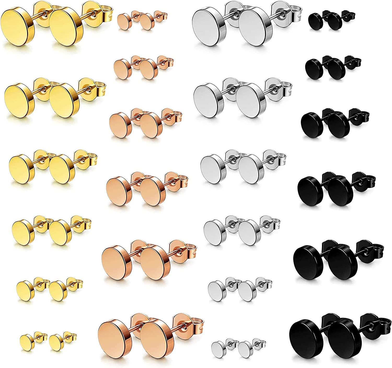 CASSIECA 24 Paar Edelstahl Ohrstecker Set f/ür Herren Damen Runde Ohrstecker Scheiben Ohrringe Hypoallergene Ohrringe 3mm-8mm Schwarz//Silber//Gold//RoseGold