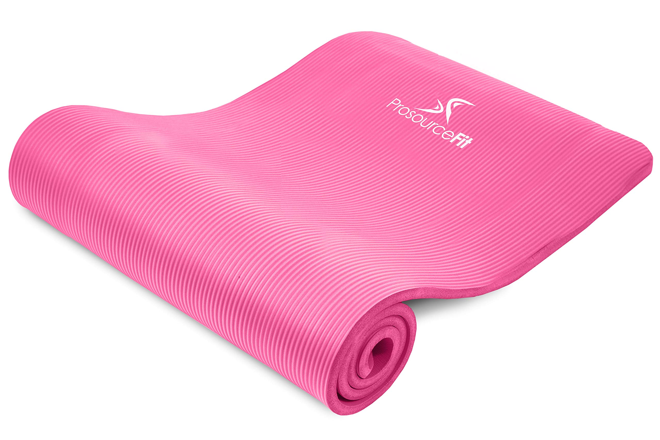 ProsourceFit Extra Thick Yoga and Pilates Mat ½'' (13mm), 71-inch Long High Density Exercise Mat with Comfort Foam and Carrying Strap, Pink