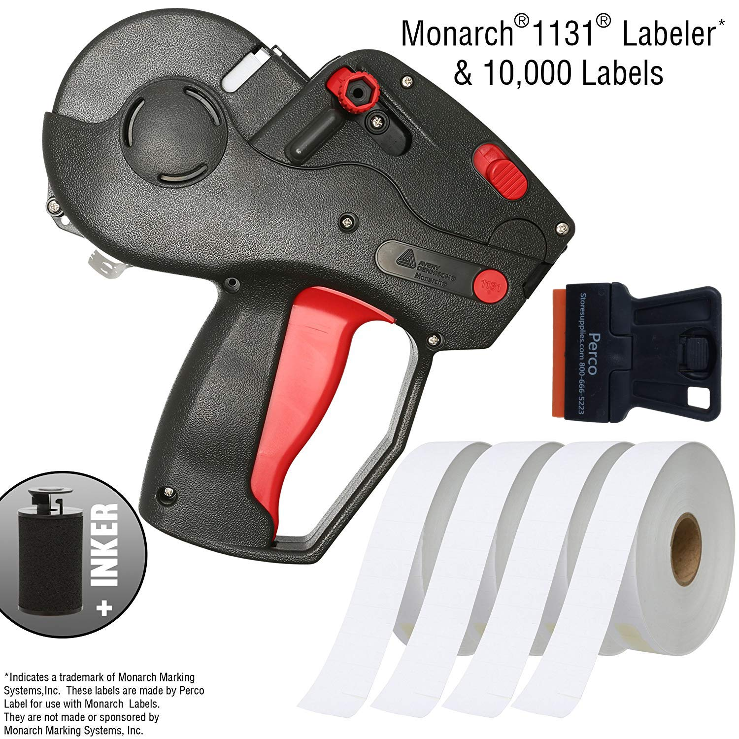 Monarch 1131 Price Gun With Labels Starter Kit: Includes Pricing Gun, 10,000 White Pricing Labels, and Preloaded Inker by Perco