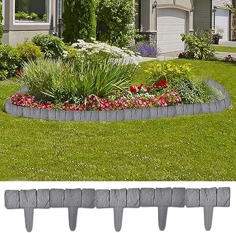 Tuduo Borde de jardín (plástico imitación Piedra 41 Piezas 10 m Bordes de jardín Gris (imitación Piedra): Amazon.es: Jardín