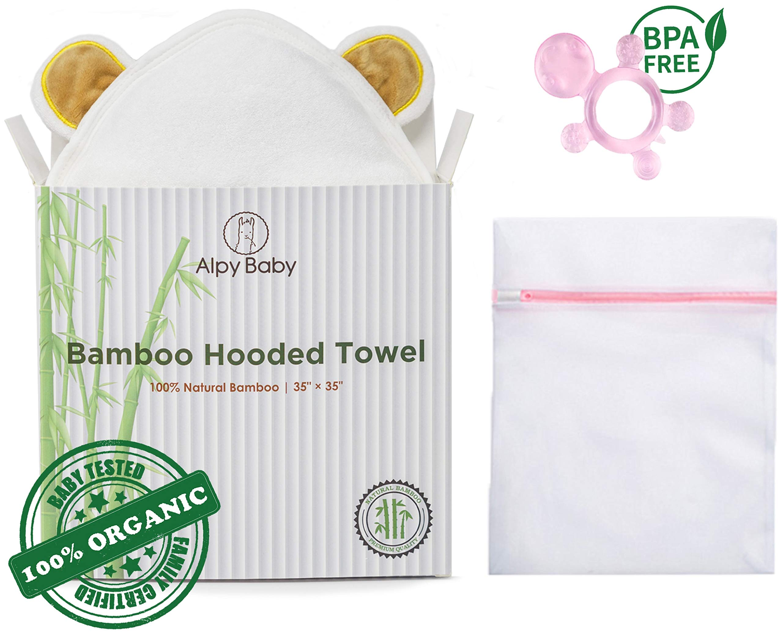Alpy Baby Organic Bamboo Hooded Bath Towel Set - Premium Quality Hypoallergenic Towel, Laundry Mesh Bag, and Teether - Pink Set by Alpy Baby