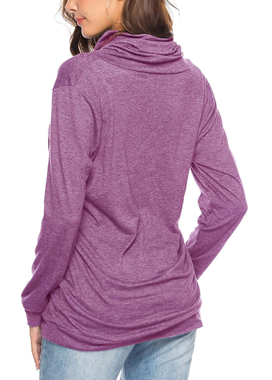 KISSMODA Womens Camiseta Manga Larga Sweatshirt Color s/ólido Casual Blusas T/única Tops