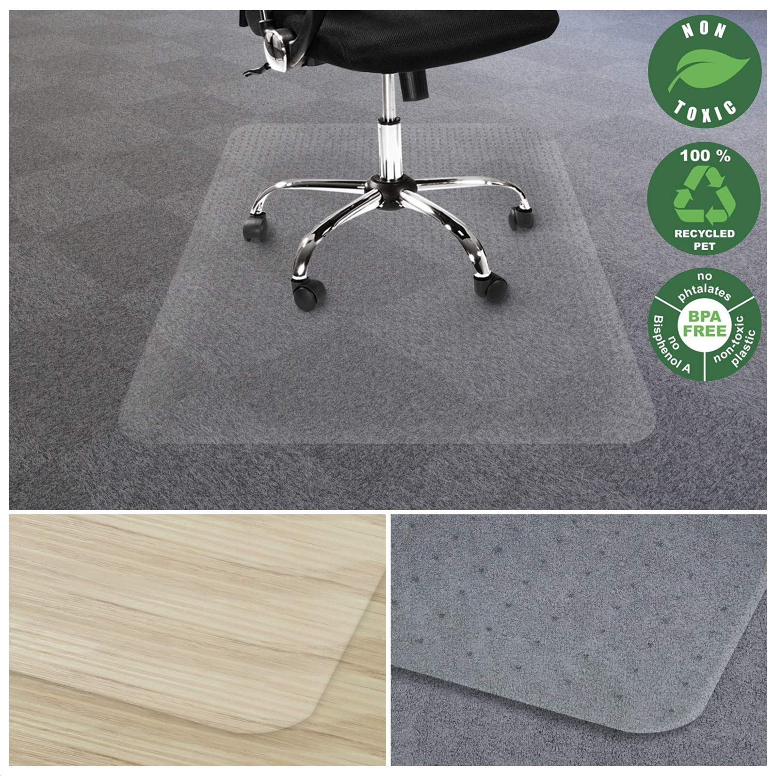 Office Marshal Chair Mat for Carpet | Eco-Friendly Series Chair Floor Protector | 100% Recycled (PET) Floor Mat for Office or Home Use | Multiple Sizes | Translucent - 48'' x 78''