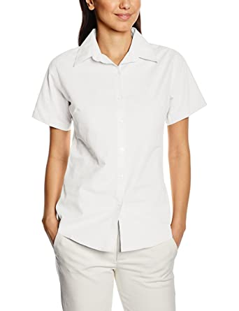 bb1a919a36f Premier Ladies Womens Short Sleeve Oxford Blouse Plain Work Shirt (12 US) ( White) at Amazon Women s Clothing store  Button Down Shirts