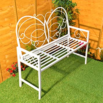 Cool White Metal Butterfly Design Garden Bench Seat With Backrest Ideal Decorative Patio Outdoor Furniture Theyellowbook Wood Chair Design Ideas Theyellowbookinfo