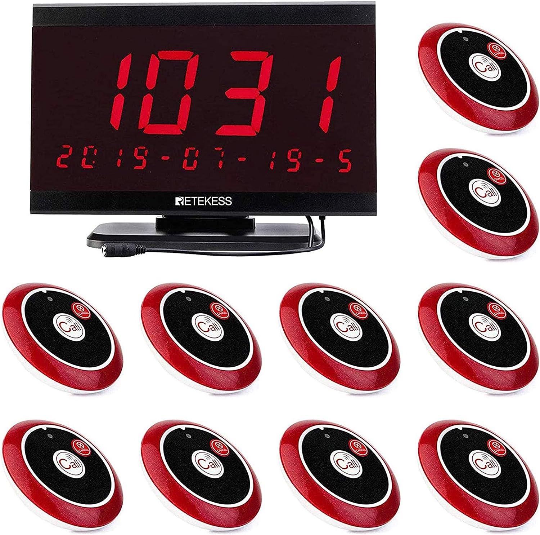 Retekess Td105 Drahtloses Anrufsystem Voice Broadcast Restaurant Pager System 10 Ruftasten Und 1 Pc Displayempfänger Baumarkt