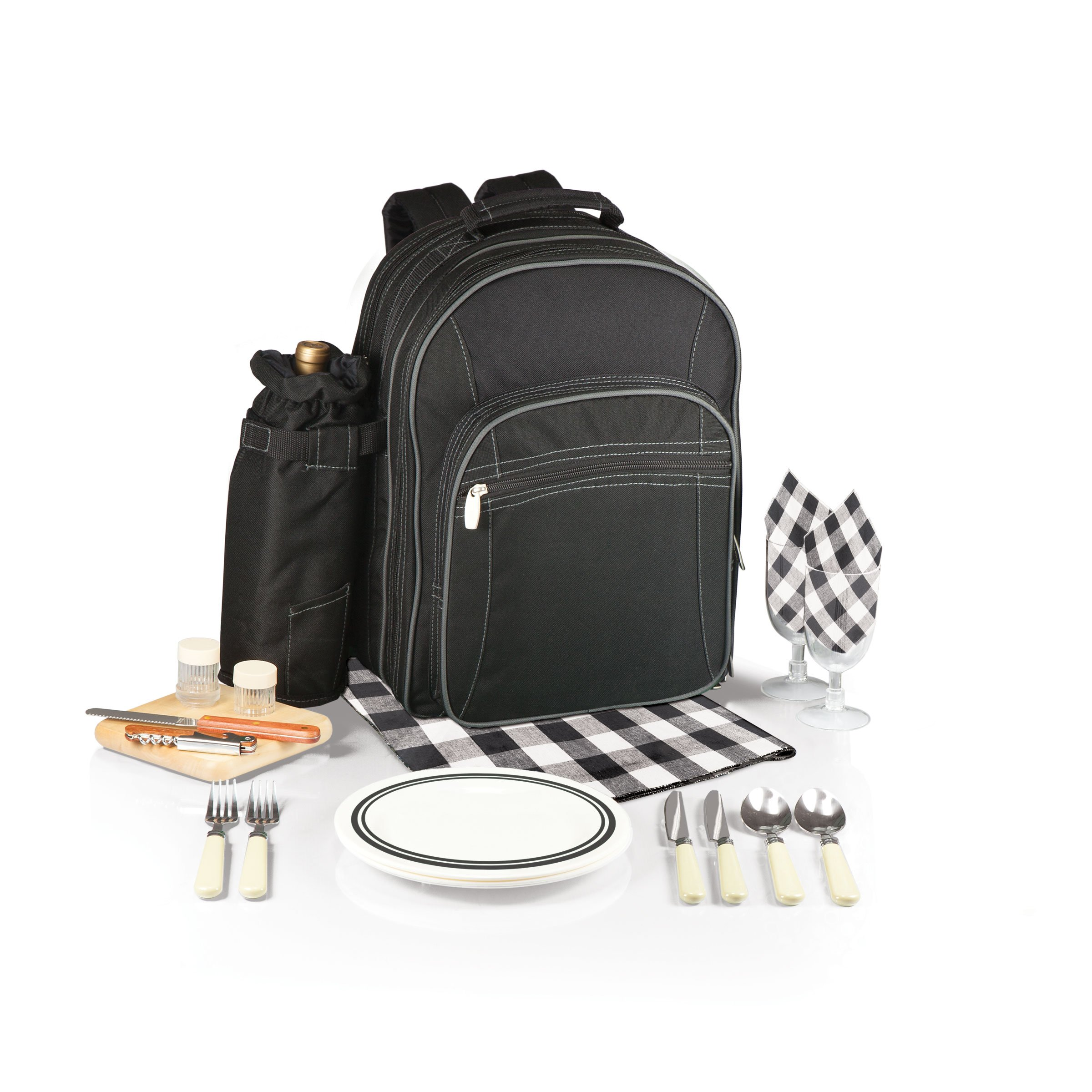 Picnic Time Capri Insulated Backpack with Wine Duffel and Deluxe Service for Two, Black