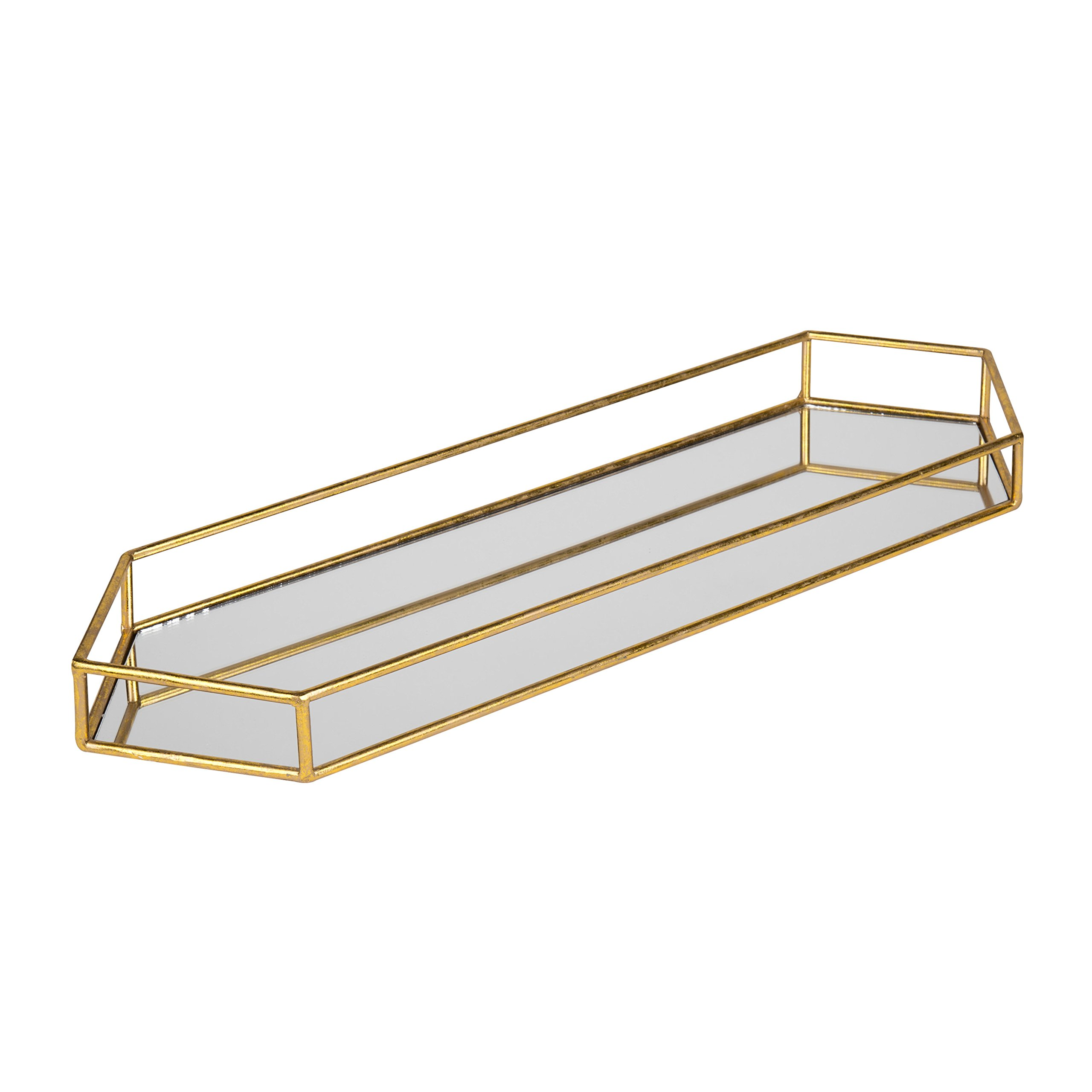 Kate and Laurel Felicia 26x8 Narrow Metal Mirrored Tray, Gold by Kate and Laurel