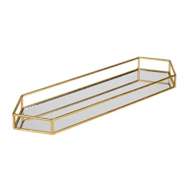 Kate and Laurel Felicia 26x8 Narrow Metal Mirrored Tray, Gold