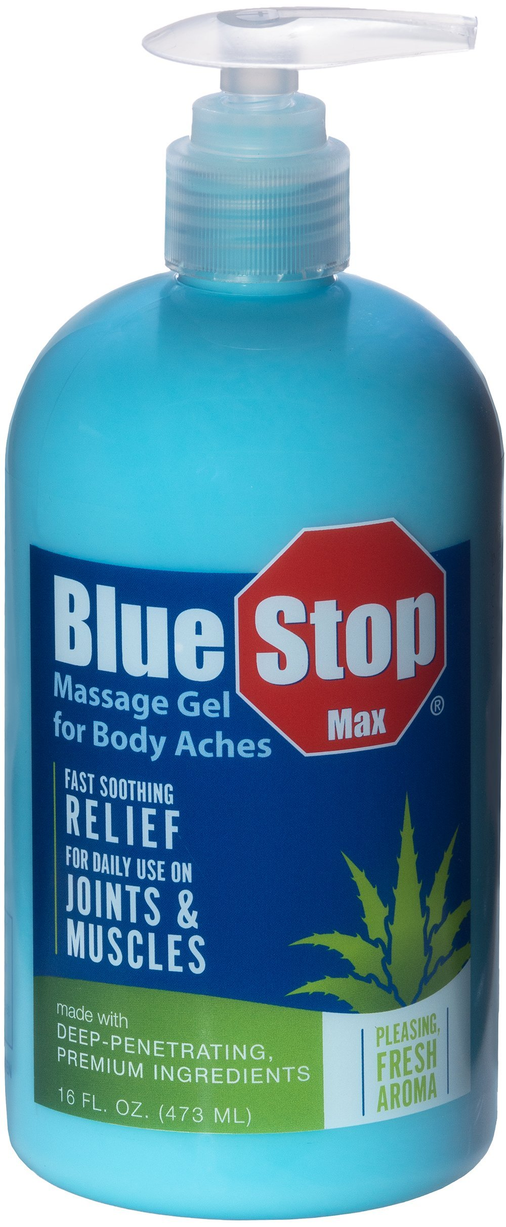 Blue Stop Max Massage Gel for Body Aches, 16 oz - 3 in 1 Product Relieves Body Aches, Supports Joints and Nourishes the Skin