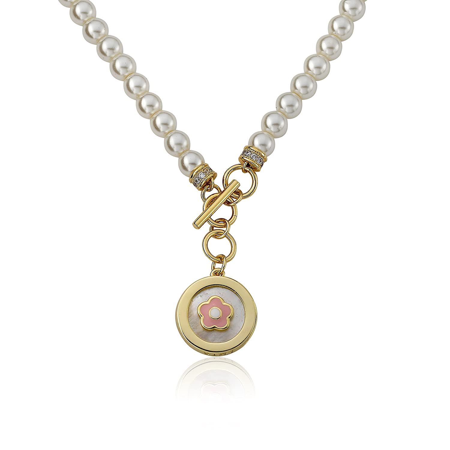 Little Miss Twin Stars Little Miss Flower Girl 14k Gold-Plated Fresh Water Pearl Necklace Accented With Enamel Flower In Mother Of Pearl Charm Dangle// 14//1