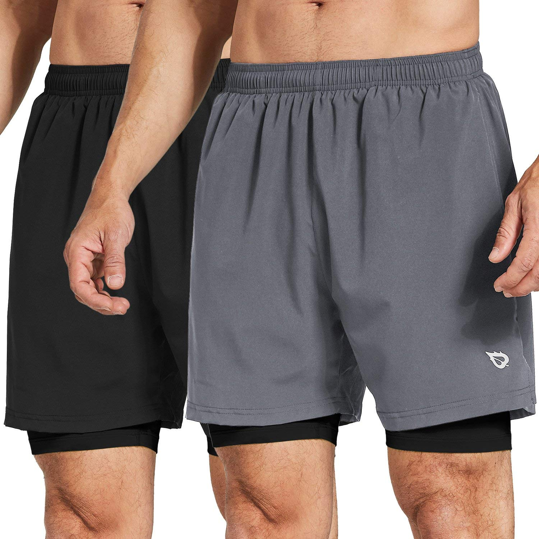 Baleaf Men's 2-in-1 Running Athletic Shorts Zipper Pocket Black/Grey Size XXXL by Baleaf