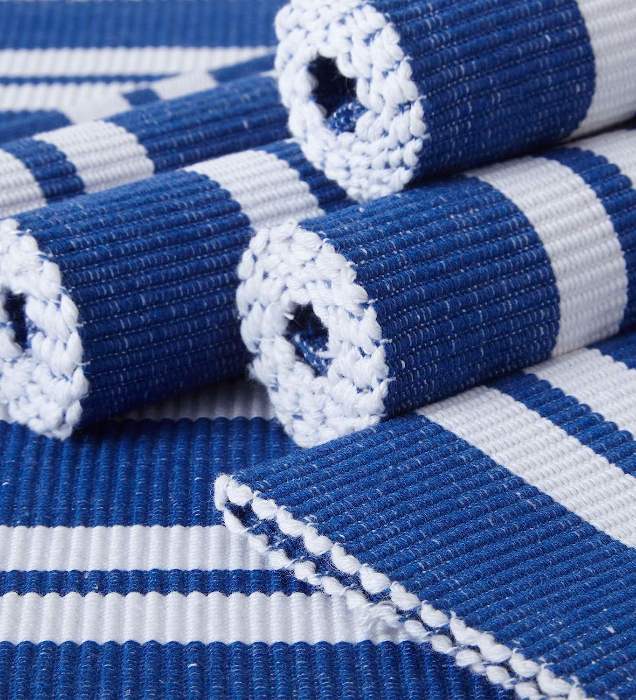 Encasa Homes Manteles Individuales (Set of 6 pcs) Hechos de Fino algodón Acanalado - Tamaño 48x33 cm, Colores y diseños, Uso en el hogar, Restaurantes - Franca Rayas Azules