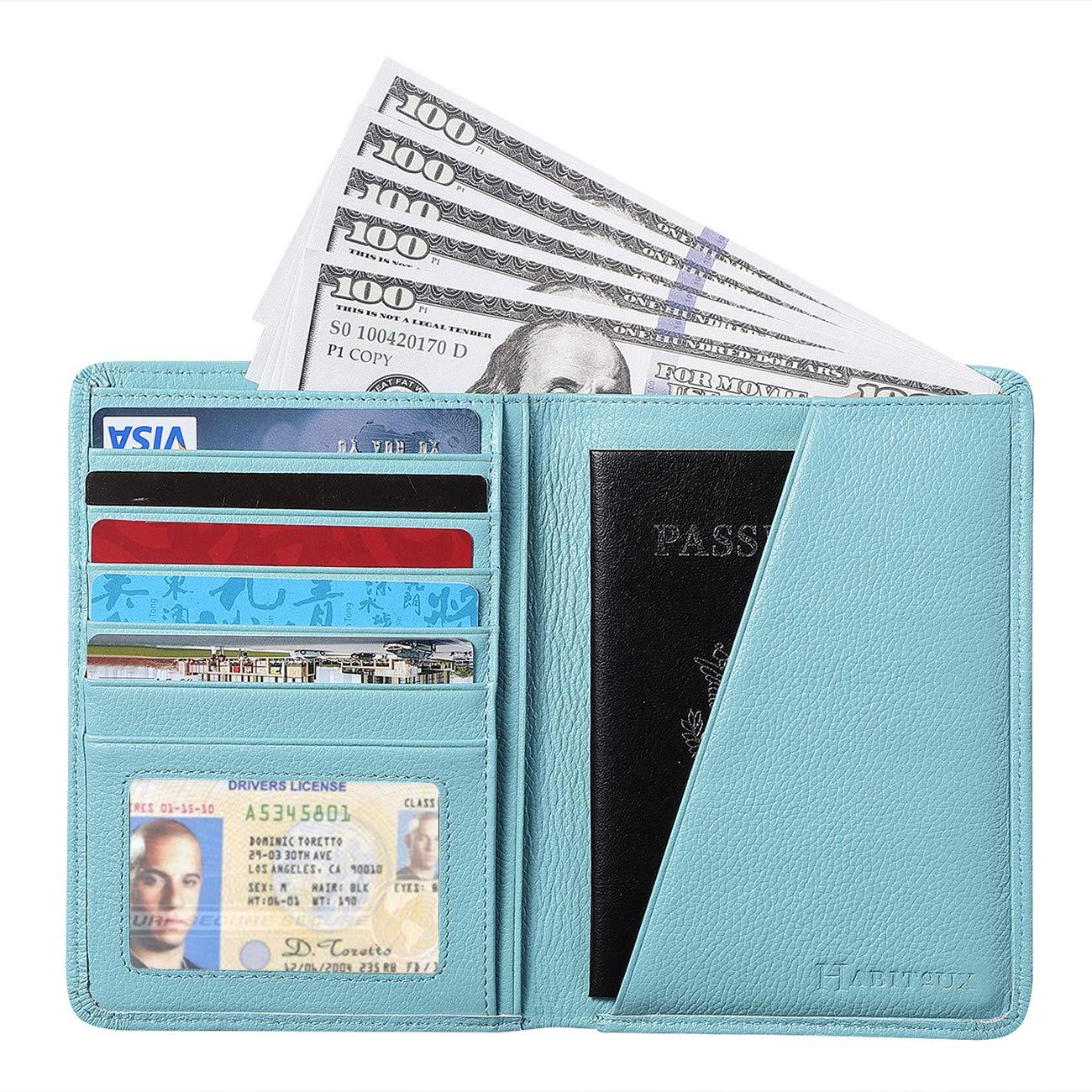 RFID Blocking Passport Holder Travel Wallet - Genuine Crazy Horse Leather (Sky Blue1) by Habitoux
