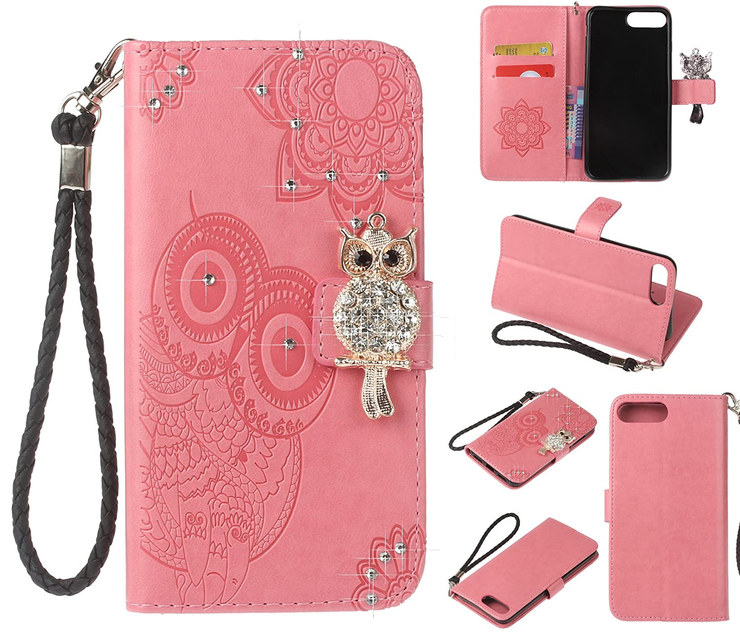Iphone 7 Plus Caseiphone 8 Caseztongy Wallet Casing 4 4s Softcase Motif Owl Case Pu Leather Crystal Diamonds 3d Relief Flip Tpu Soft Shell With Credit Card