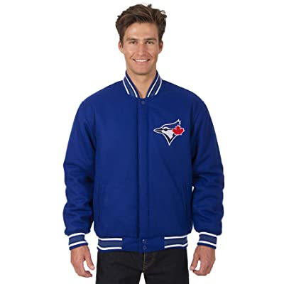 Toronto Blue Jays MLB Jacket Wool Nylon Reversible Embroidered Logos Front