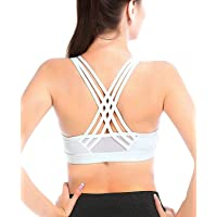 YIANNA Womens Sports Bra High Impact Cross Back Padded Wireless Workout Activewear Running Yoga Bra