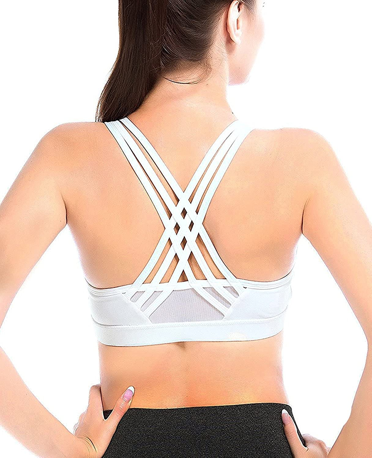 YIANNA Womens Sports Bra Padded Medium Support Cross Back Wireless Running Yoga Bra