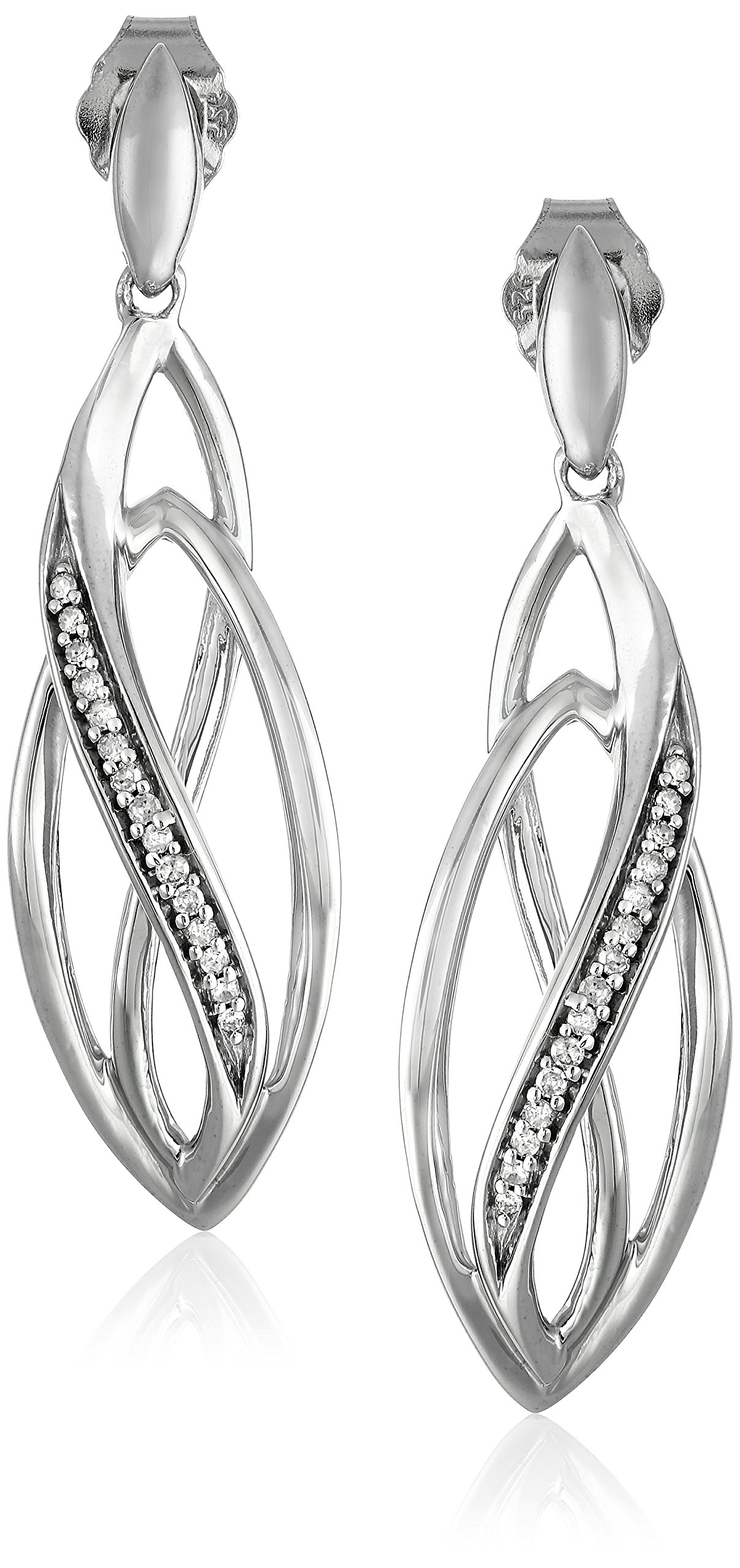 Sterling Silver Diamond Geometric Layered Drop Earrings (1/10 cttw, J-K Color, I2-I3 Clarity)