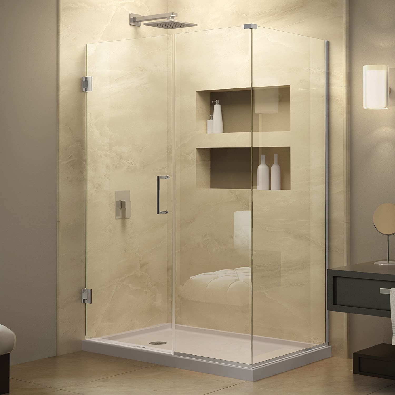 DreamLine Unidoor Plus 34 3/8 in. D x 46 in. W, Frameless Hinged ...