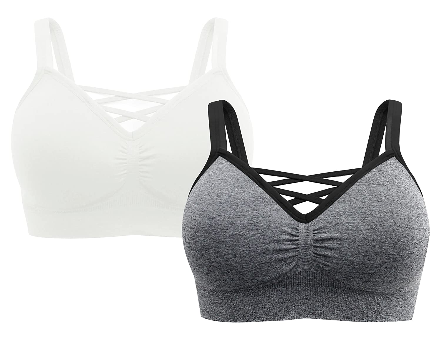 A B S BY ALLEN SCHWARTZ Women s 2 Pack Plus Size Seamless Removable Cups  Wire-Free Cage Front Bralette 0003db182