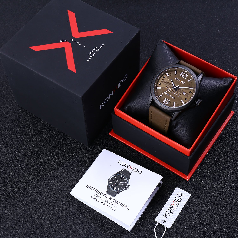 KONXIDO Men's Business Quartz Watch, Casual Fashion Analog Wrist watch Classic Date and Week Window, Waterproof 30M Water Resistant Comfortable Genuine Leather Strap Watches Coffee by KONXIDO (Image #7)