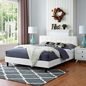 Modway Linnea Upholstered White Platform Bed with Wood Slat Support in Full