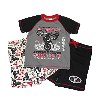 St. Eve Boy's 7/8 Speedway Motocross 3-Piece Pajama Shorts Set