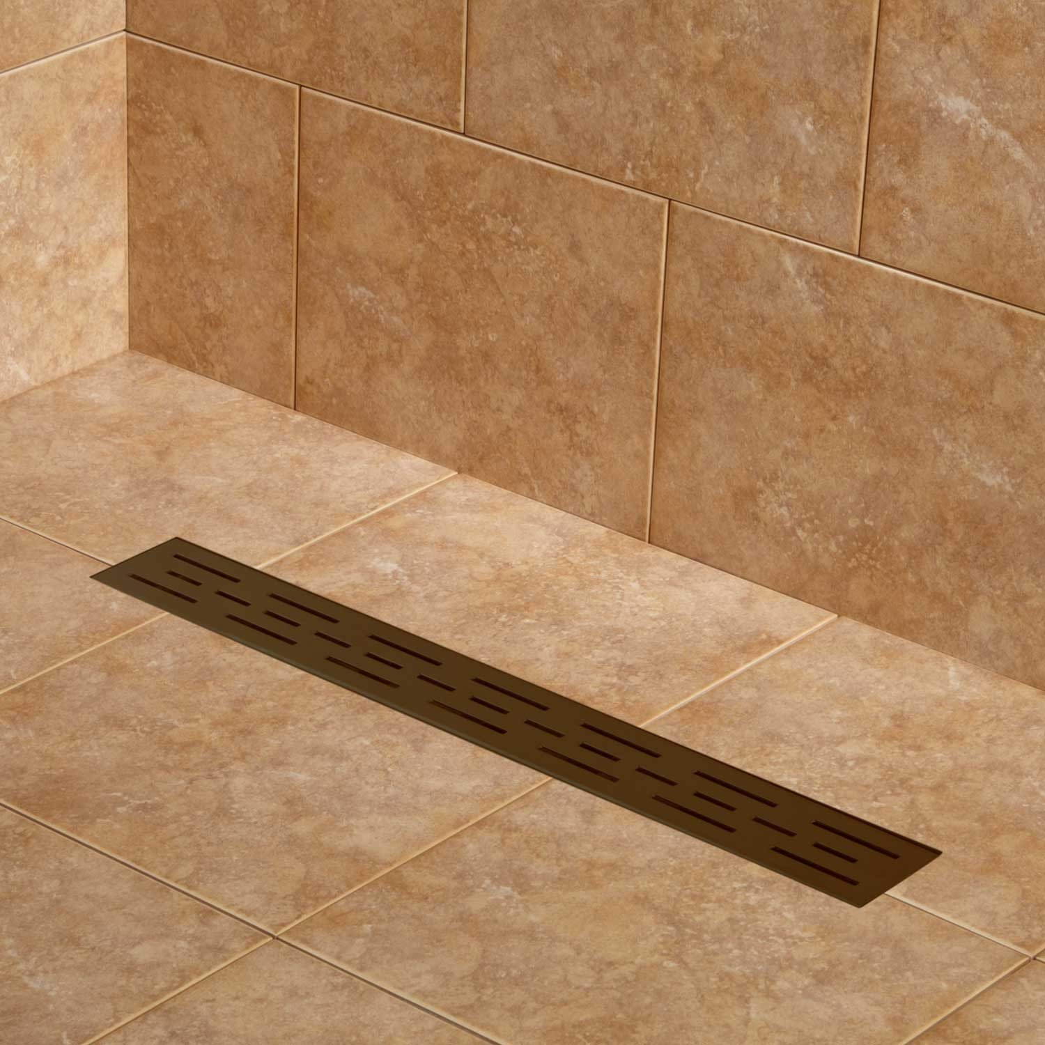 Naiture 32'' Stainless Steel Linear Shower Floor Drain Without Drain Flange In Oil Rubbed Bronze Finish by SH