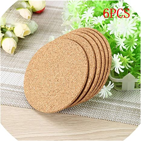 6pcs Plain Round Cork Coasters Coffee Drink Tea Cup Table Mat Creative Placemat For Dining Table Kitchen Decoration Accessories Home Kitchen