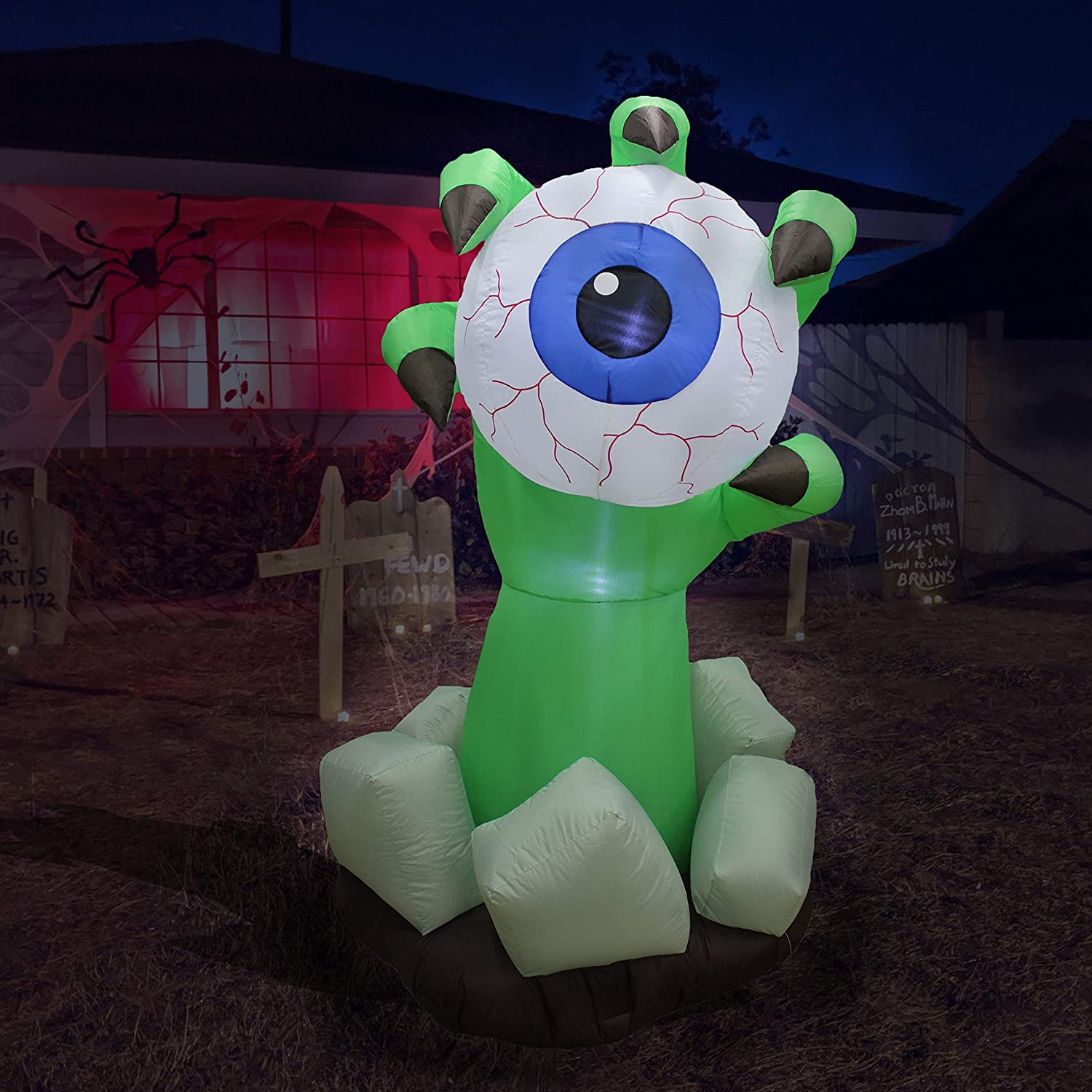 BZB Goods 6 Foot Halloween Inflatable Monster Hand with Eyeball LED Lights Decor Outdoor Indoor Holiday Decorations, Blow up Lighted Yard Decor, Lawn Inflatables Home Family Outside