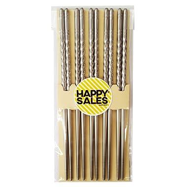 Happy Sales HSCSS4, 10 Pc Chopstick Stainless Steel Chopsticks 5 Pairs spiral