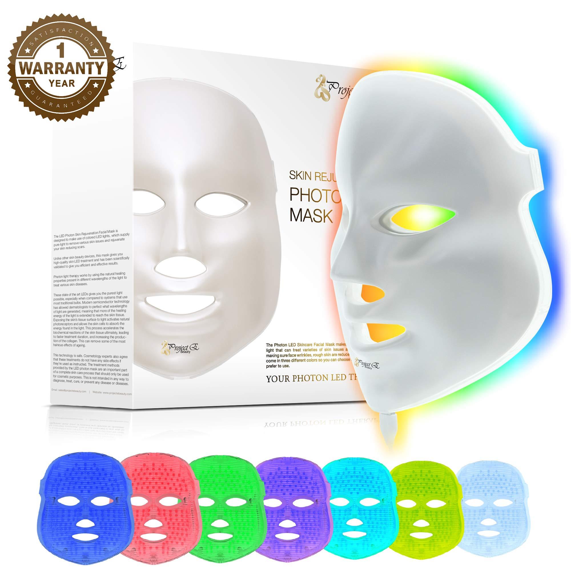 Project E Beauty 7 Color LED Mask Photon Light Skin Rejuvenation Therapy Facial Skin Care Mask
