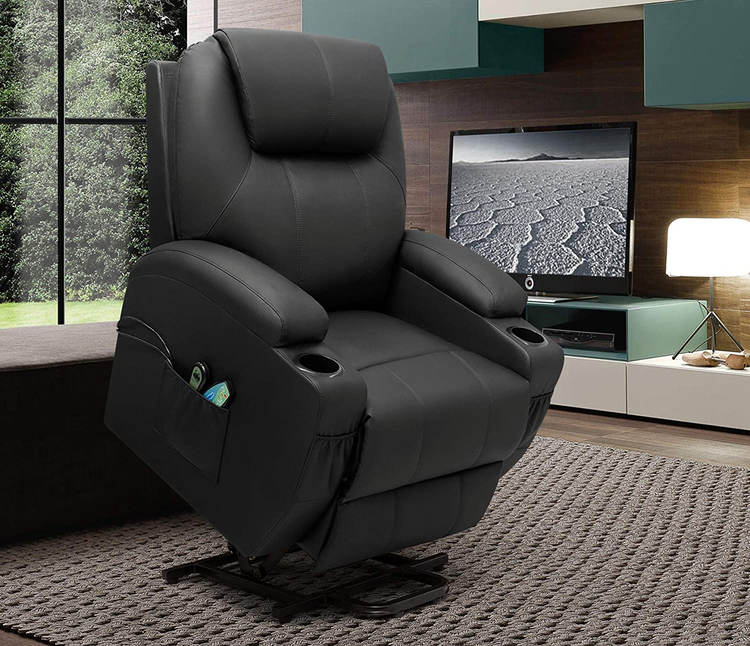 VICTONE Electric Power Lift Recliner Chair PU Leather Sofa Chair for Elderly with Massage and Heat Home Theater Chair with Side Pockets and Cup Holders (Black)