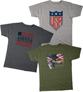 00ac7762 Patriotic American Flag USA Men's Graphic Short Sleeve Cotton T-shirt Value  Pack of 3