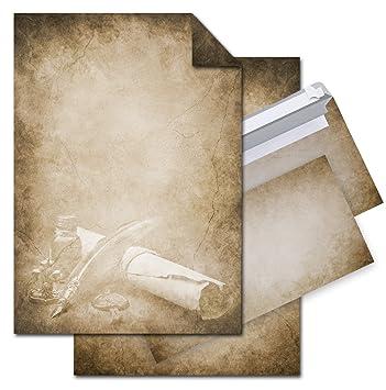 Set 12 Blatt Briefpapier Vintage Füller Papierrolle Beidseitig