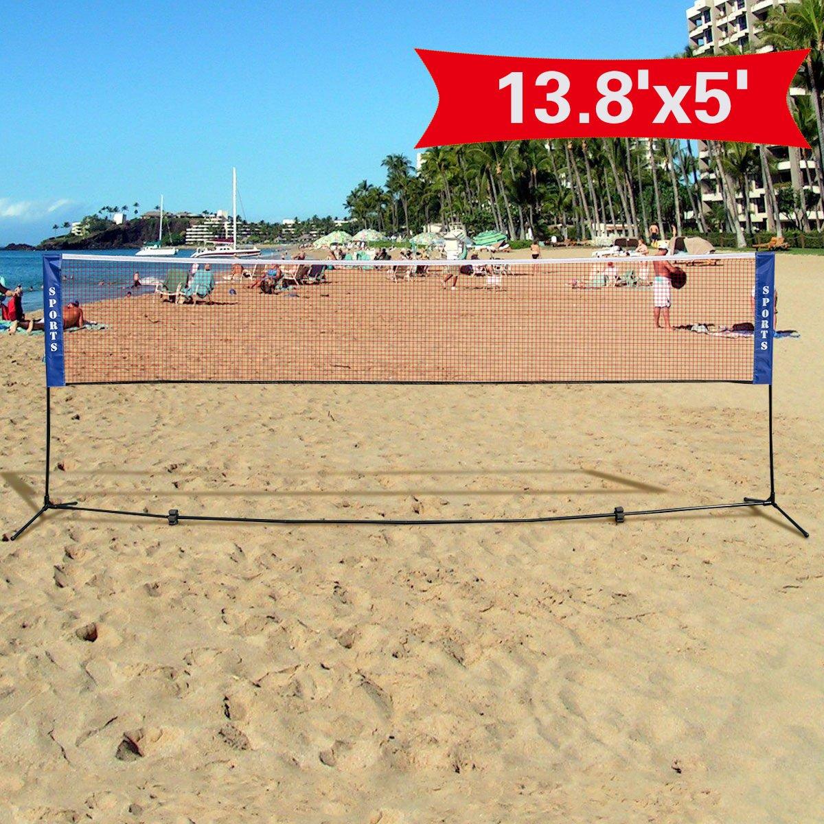 amazon com goplus portable badminton net beach volleyball tennis
